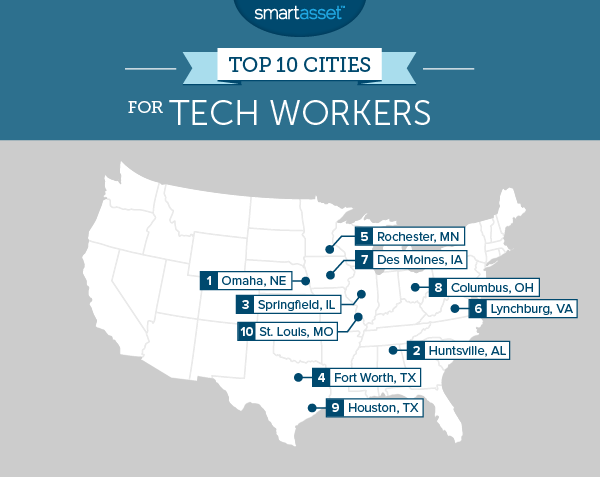 tech cities 2 map The Top 10 Best American Cities to Work in Tech in 2015